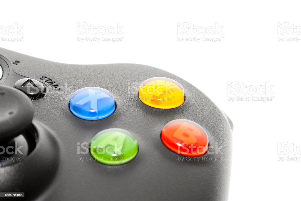 Close-up of a corner of an Xbox controller stock photo