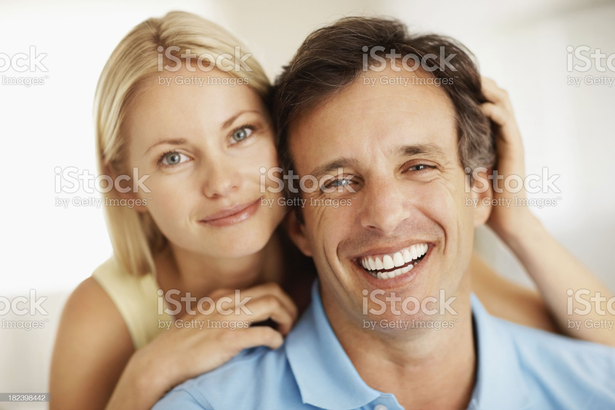 Close-up of a couple smiling together royalty-free stock photo