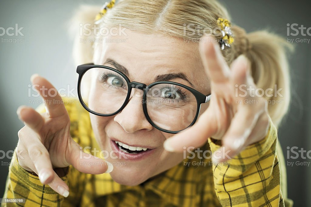Close-up of a crazy nerd woman. royalty-free stock photo