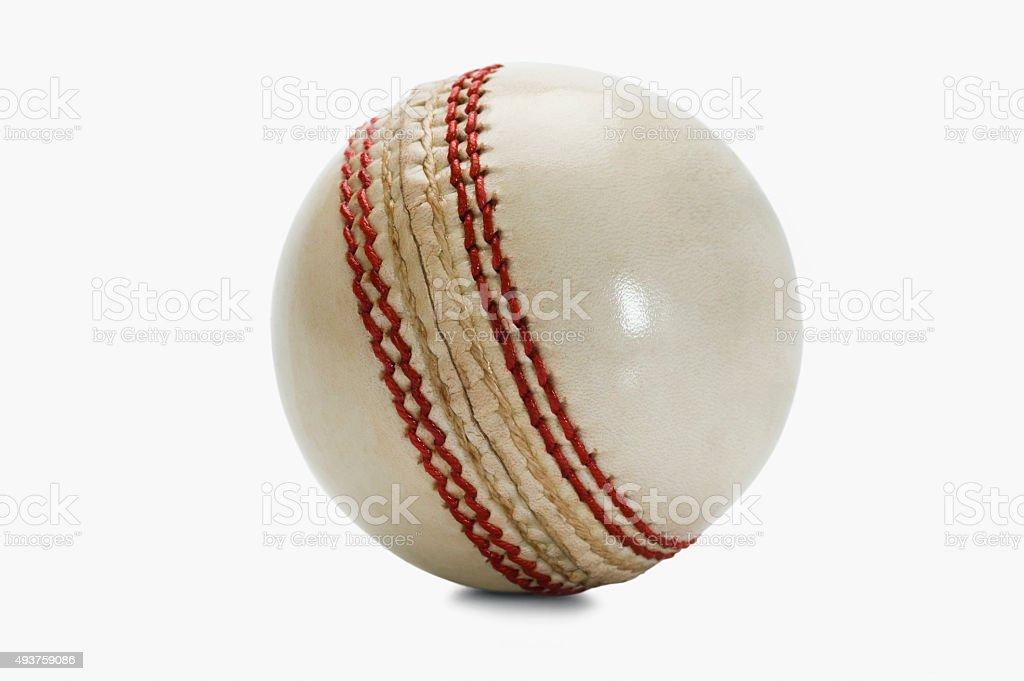 Close-up of a cricket ball stock photo