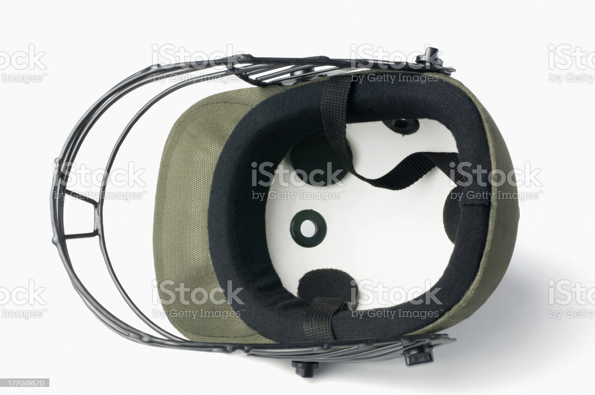 Close-up of a cricket helmet royalty-free stock photo