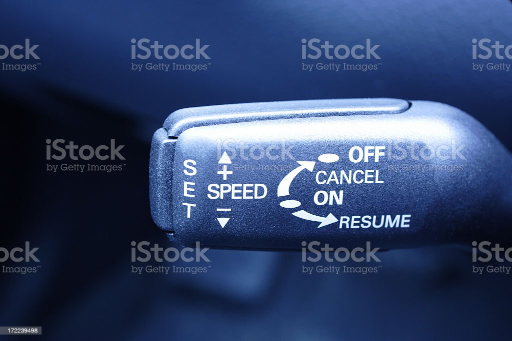 Close-up of a cruise control button royalty-free stock photo