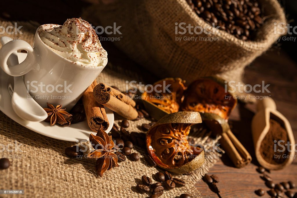 Close-up of a cup of coffee with whipped cream stock photo