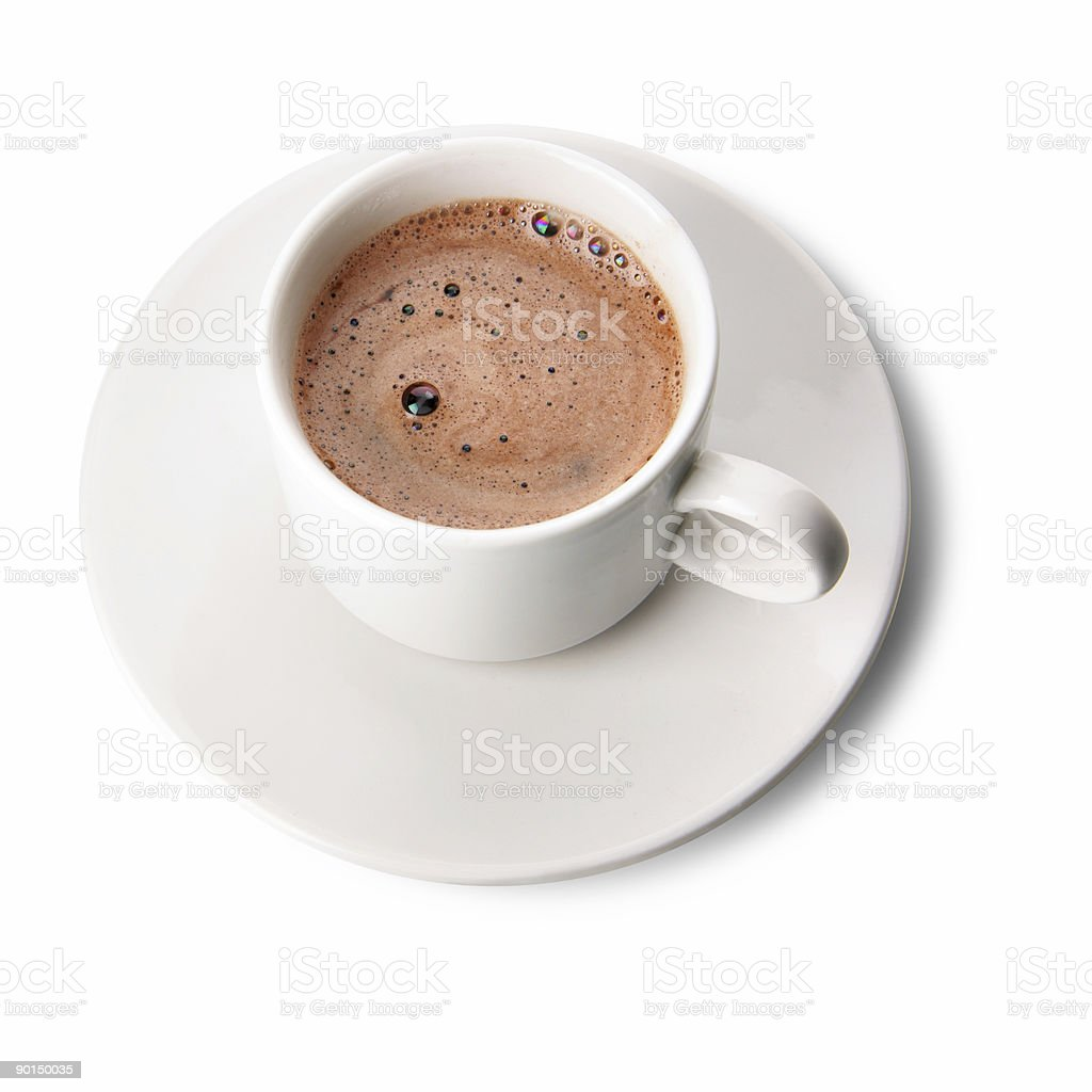 Close-up of a cup of coffee with white background royalty-free stock photo