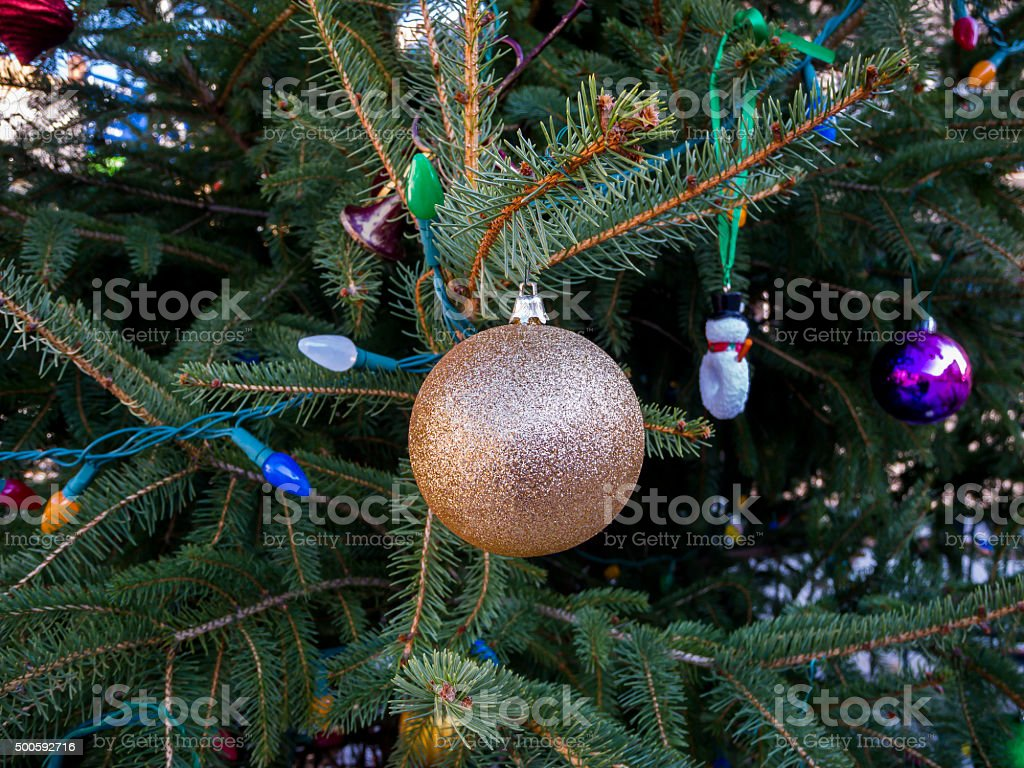 Closeup of a Decorated Christmas Tree stock photo