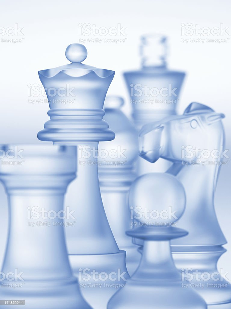 Close-up of a digital image of chess pieces made of glass stock photo