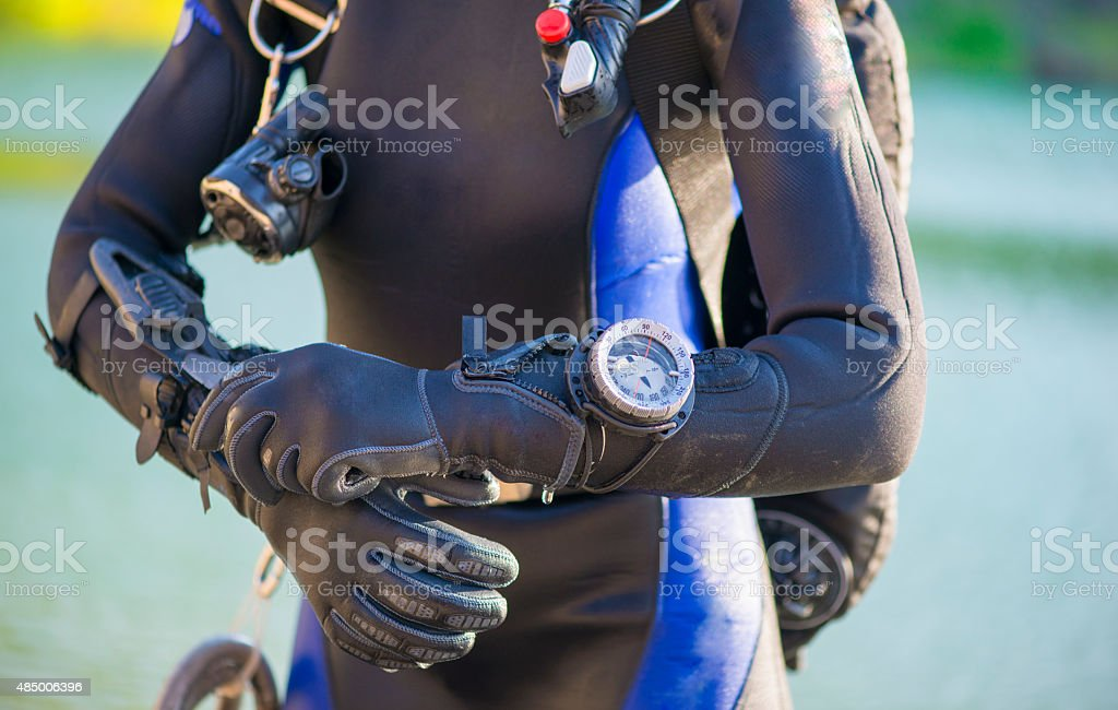 closeup of a divers's gear stock photo