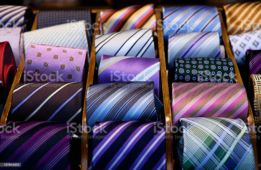 Close-up of a drawer full of silk ties stock photo