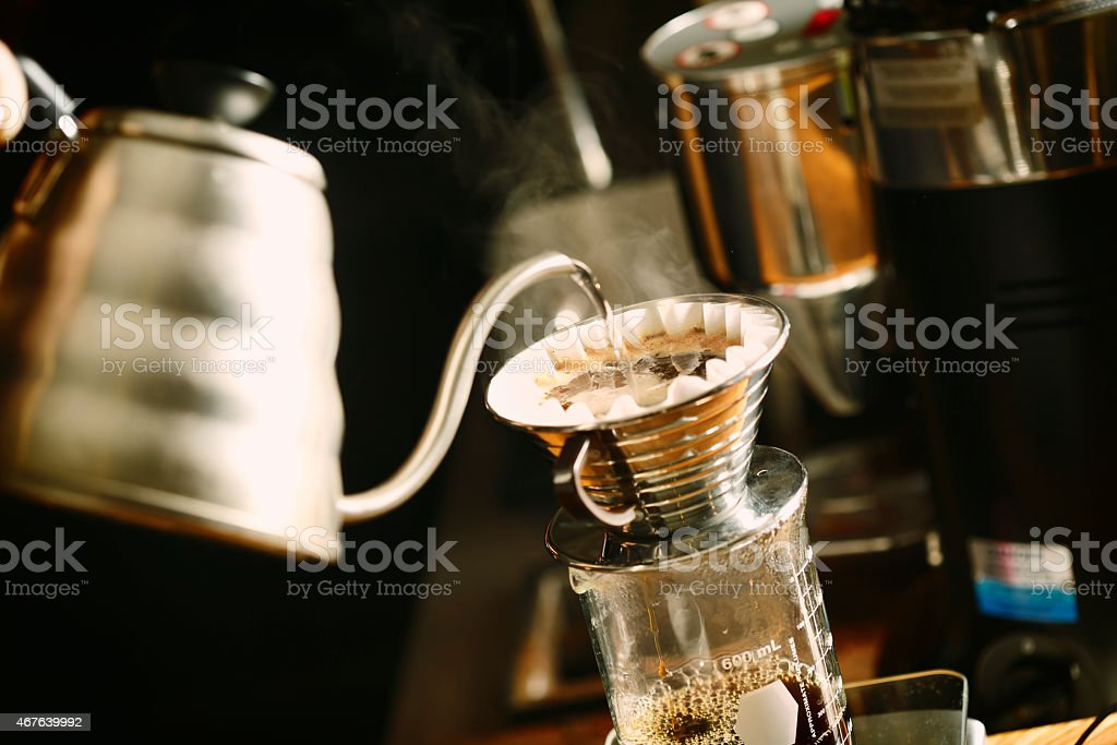 Close-up of a drip coffee maker stock photo
