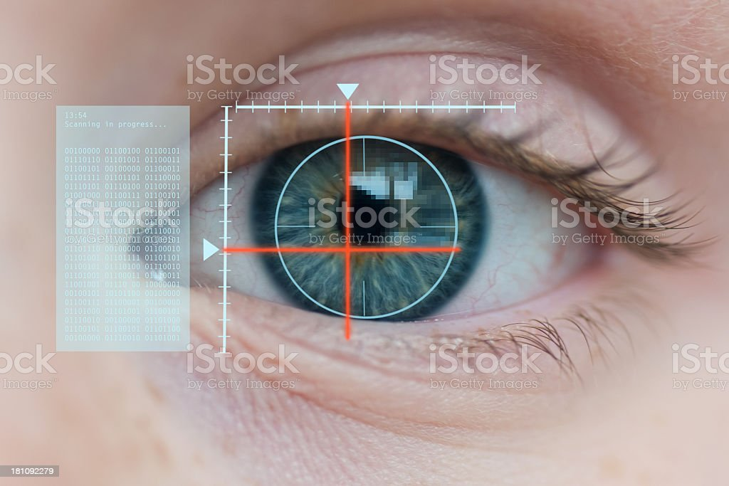Close-up of a eye showing the biometrics stock photo