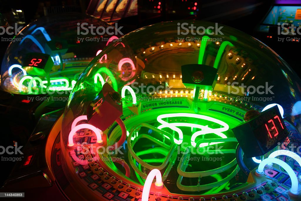 Closeup of a famous arcade game with colorful lights stock photo