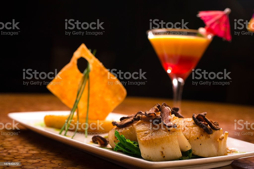 Close-up of a fancy plate of food with a stock photo