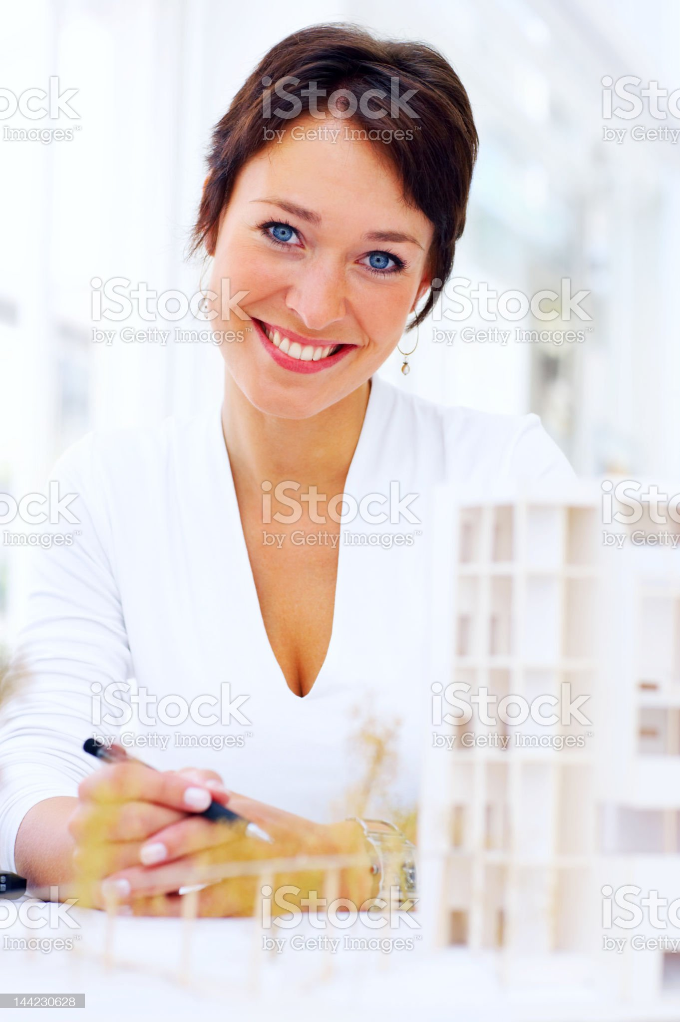 Close-up of a female architect smiling royalty-free stock photo