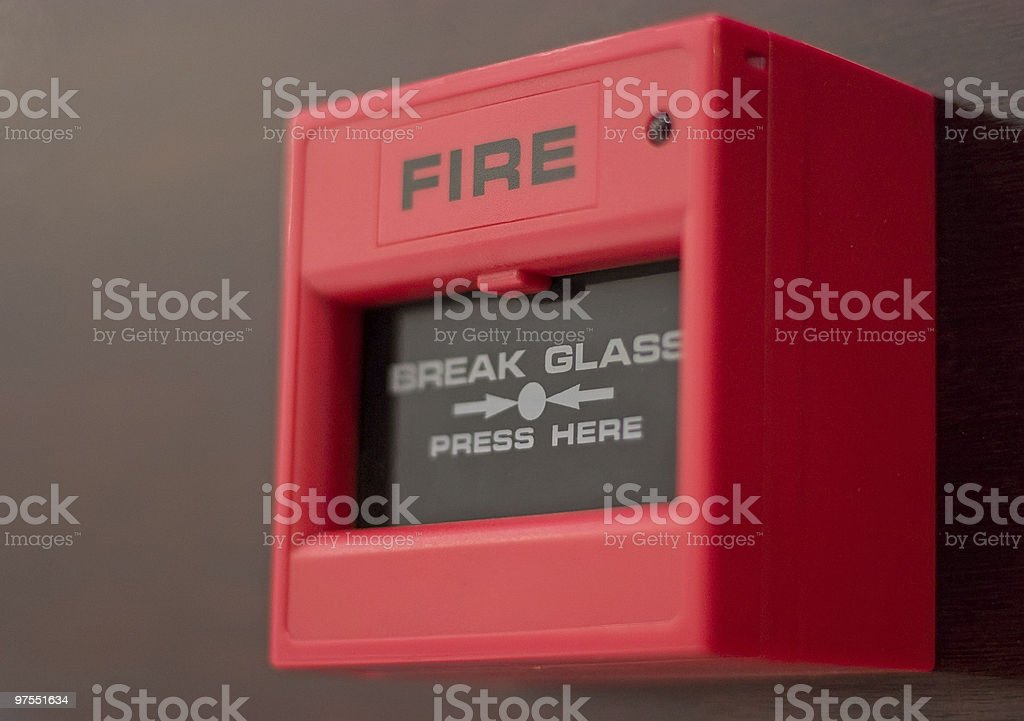 A close-up of a fire alarm box stock photo