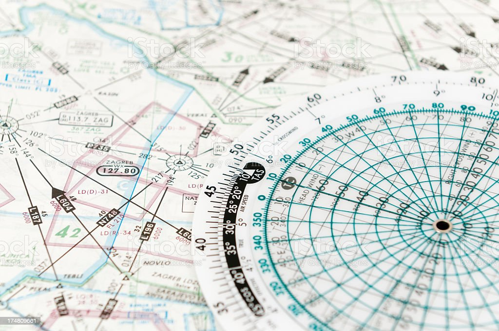 Close-up of a flight chart and computer stock photo