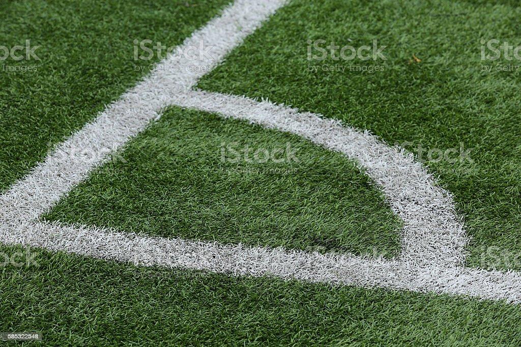 Close-up of a football field corner stock photo