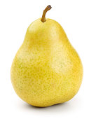 Close-up of a fresh yellow pear with clipping path