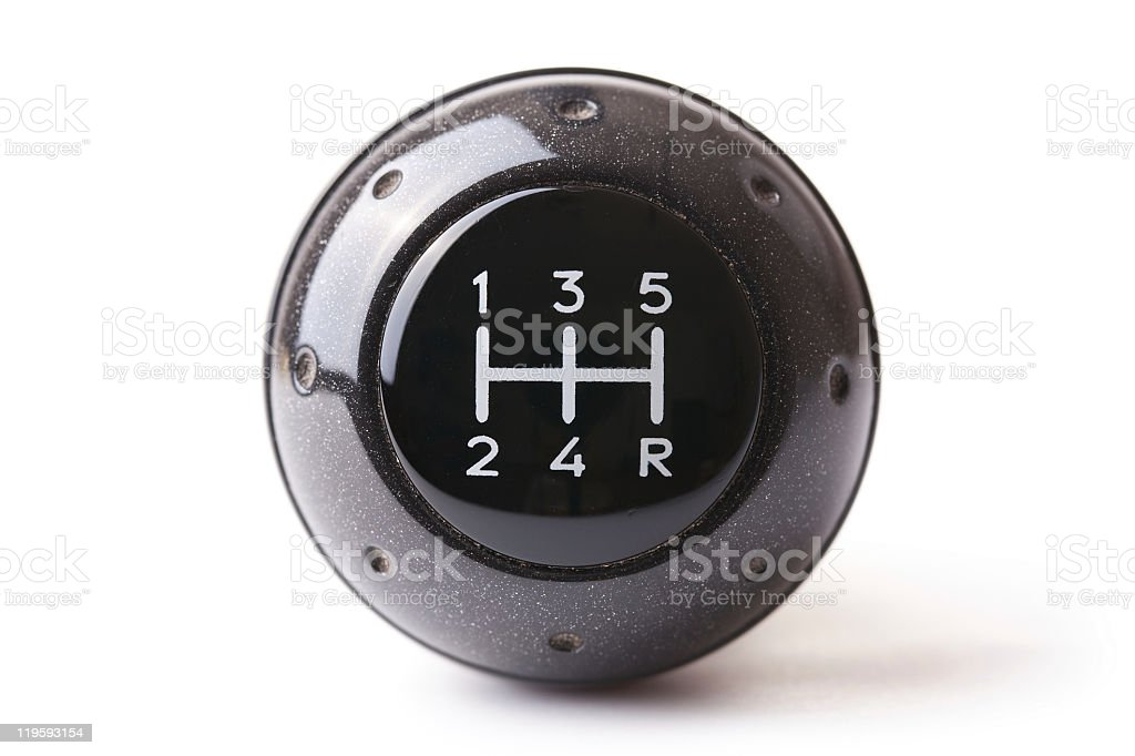 Close-up of a gearshift isolated on white royalty-free stock photo