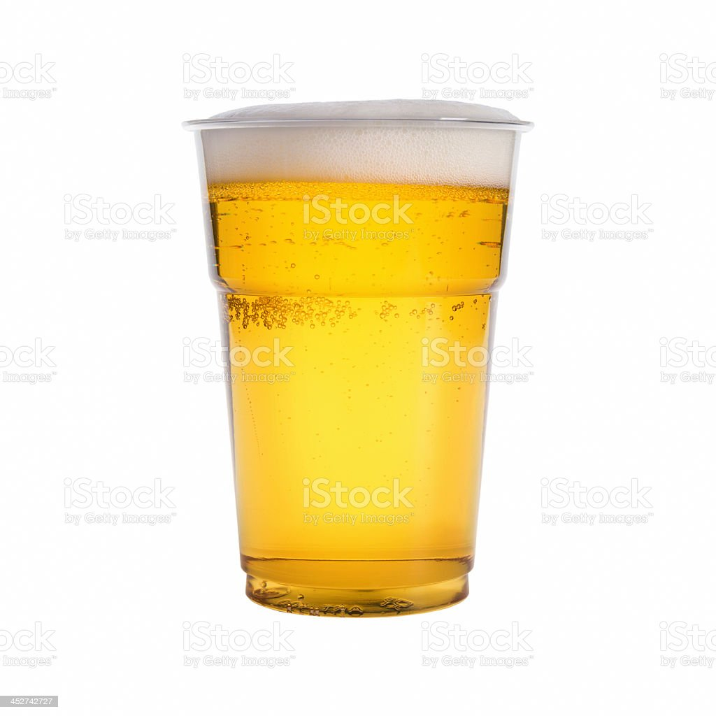 Close-up of a glass of beer on a white background stock photo