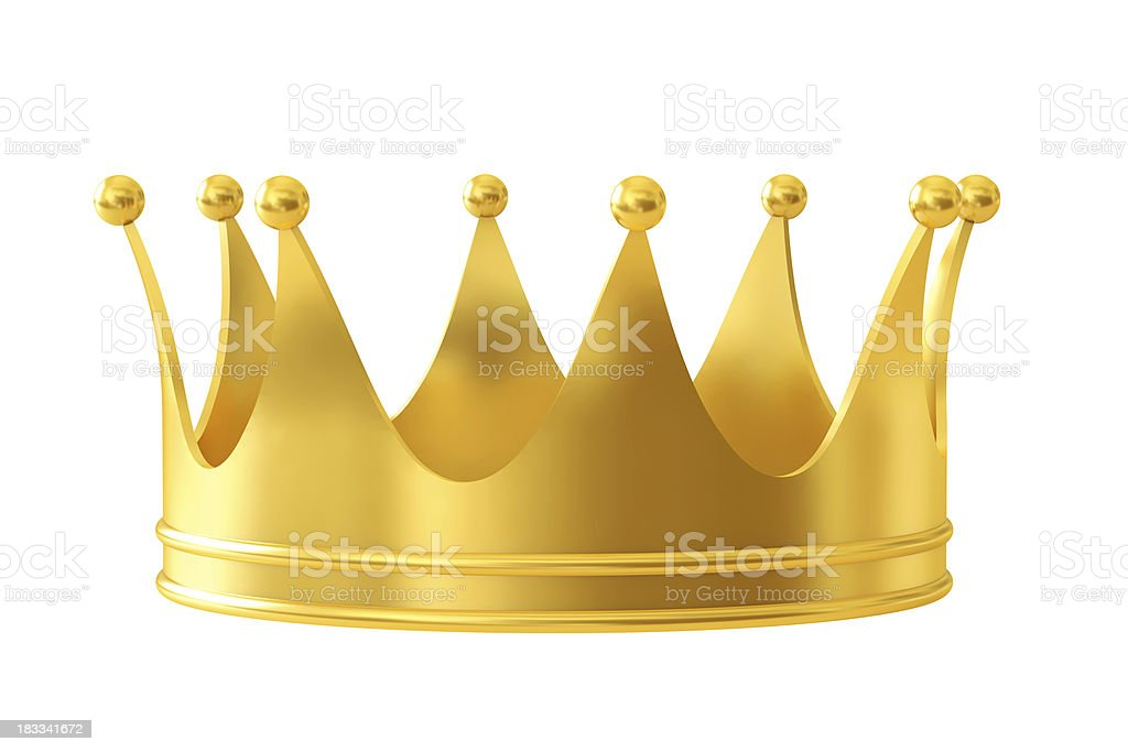 Close-up of a golden crown isolated on white stock photo