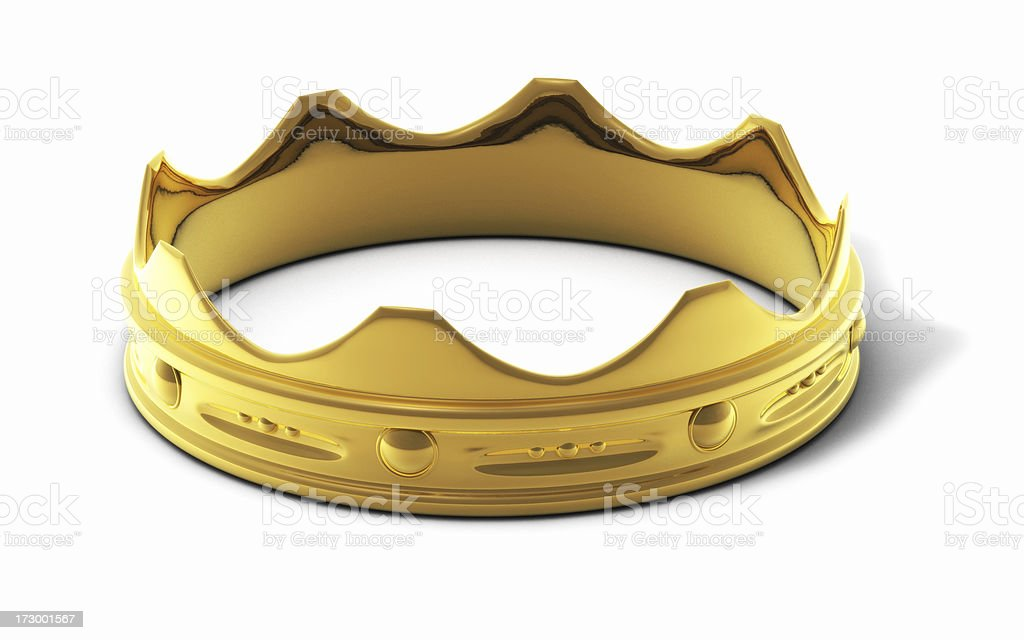 Close-up of a golden ring in crown shape stock photo