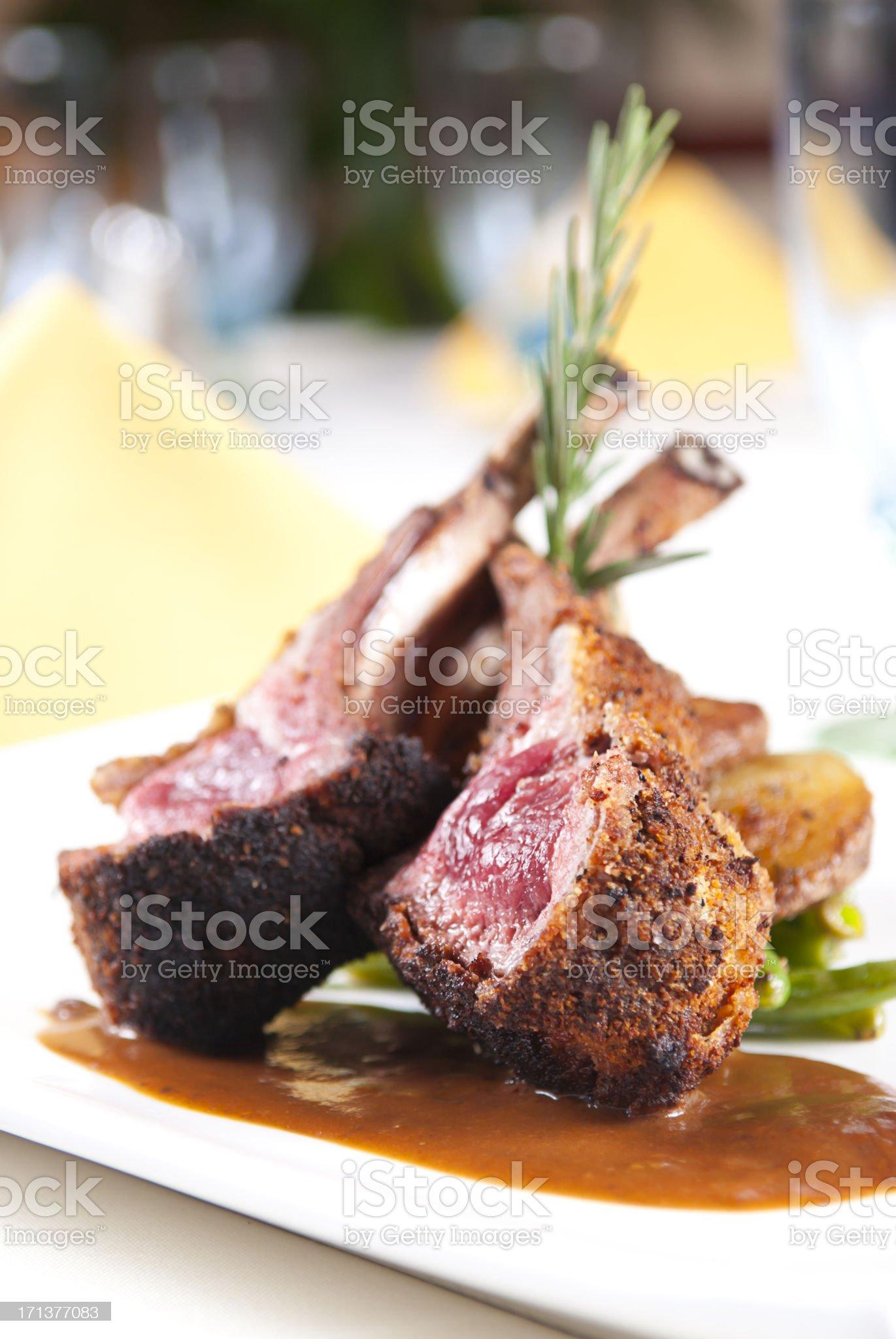 Close-up of a gourmet-style lambchop dish royalty-free stock photo
