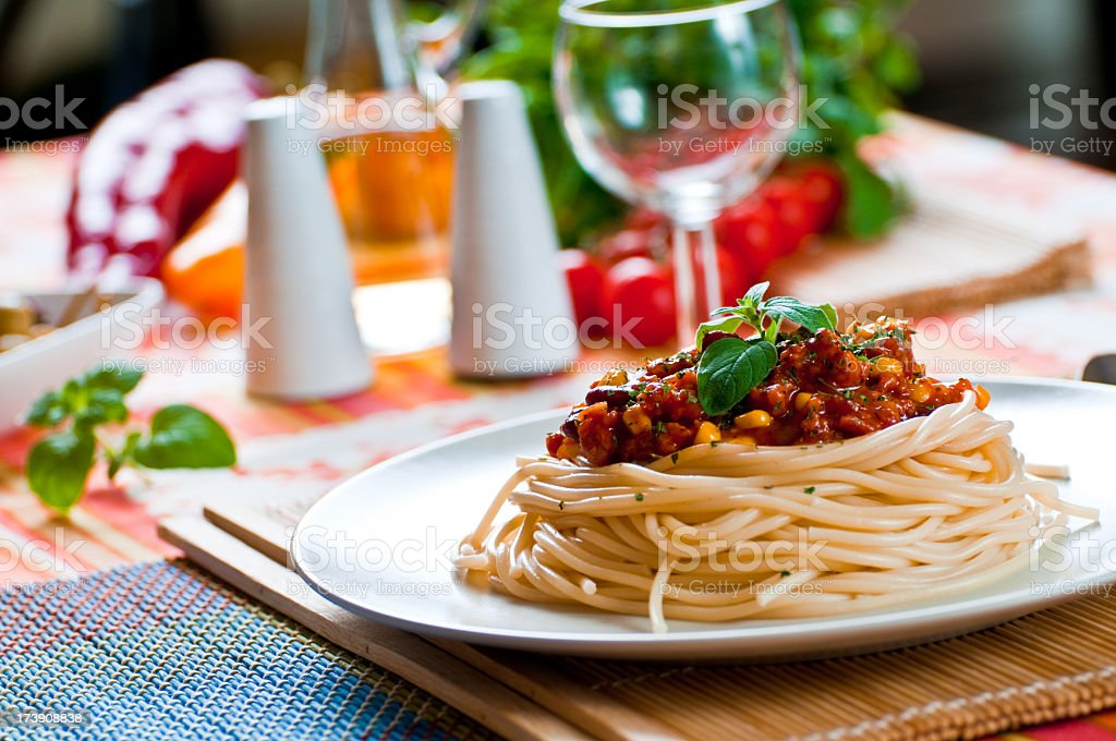 Close-up of a gourmet-style spaghetti on a table royalty-free stock photo