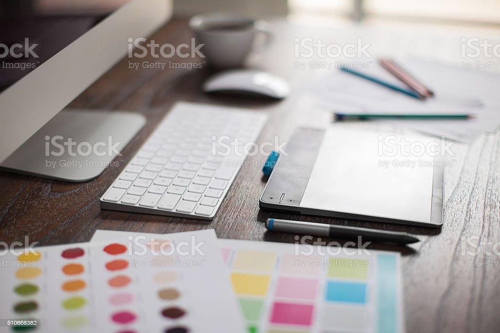Closeup of a graphic designer's desk royalty-free stock photo