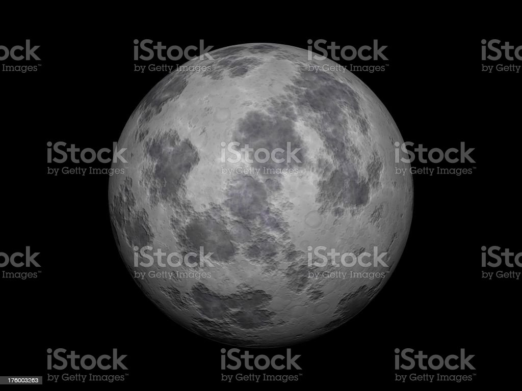 Close-up of a gray full moon with black sky in background royalty-free stock photo