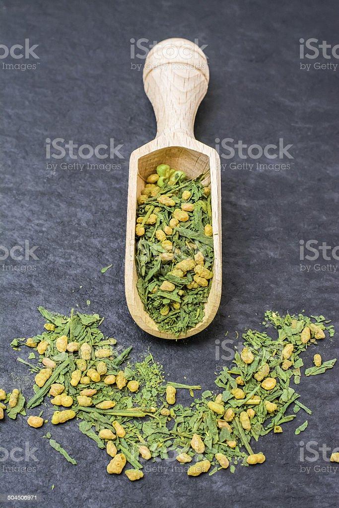 Close-up of a green japanese tea genmaicha stock photo