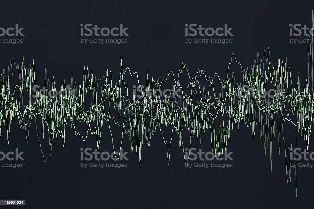 A close-up of a green oscillogram on black background royalty-free stock photo
