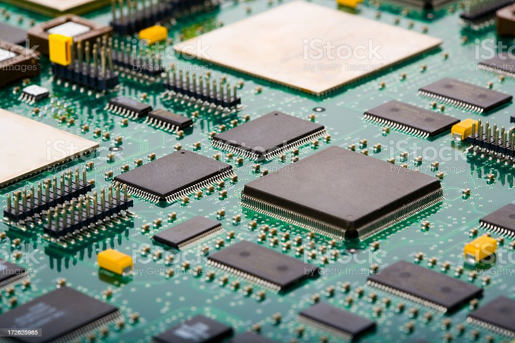 Close-up of a green printed circuit board royalty-free stock photo