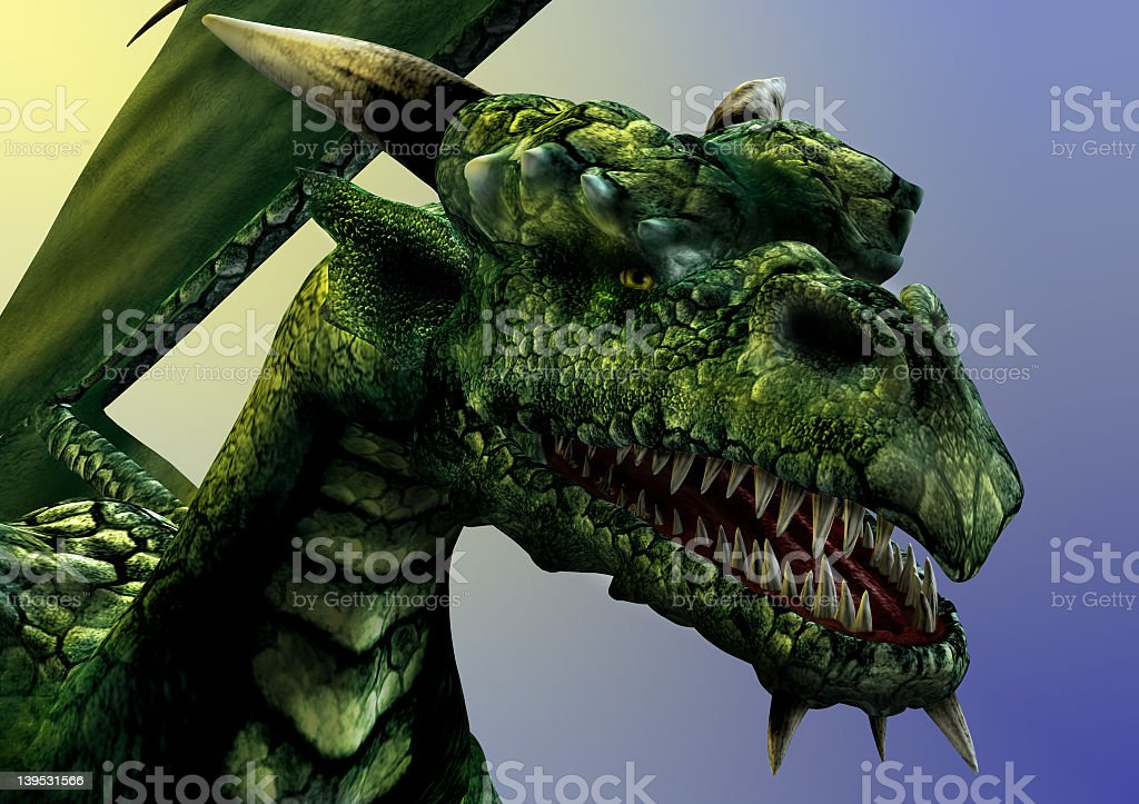 A close-up of a green scary dragon royalty-free stock photo