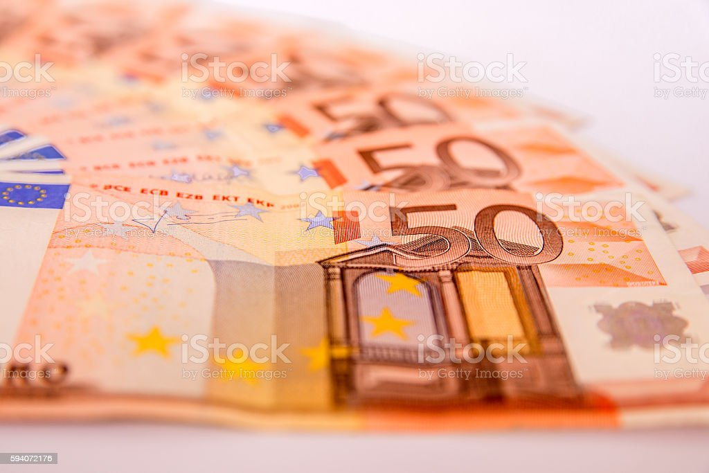 Closeup of a group of fifty euros banknote background stock photo
