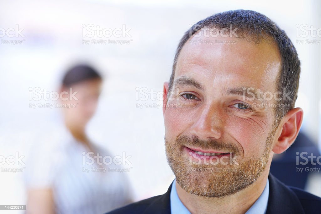 Close-up of a handsome business leader royalty-free stock photo