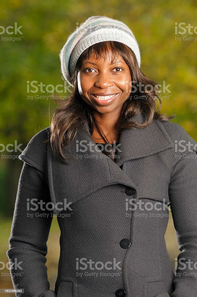 Close-up Of A Happy African American In Winter Clothing stock photo