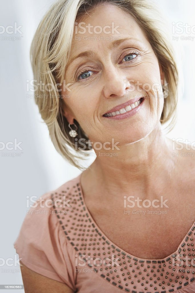 Closeup of a happy and beautiful elderly woman royalty-free stock photo