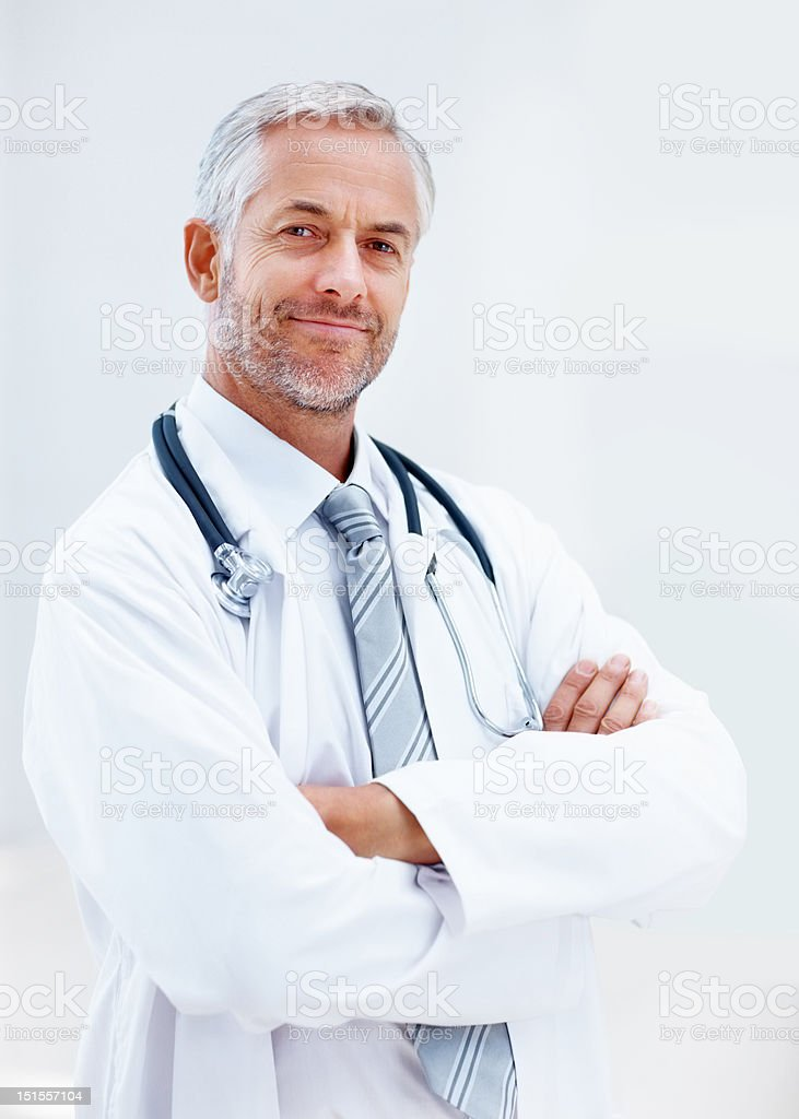 Close-up of a happy mature doctor royalty-free stock photo