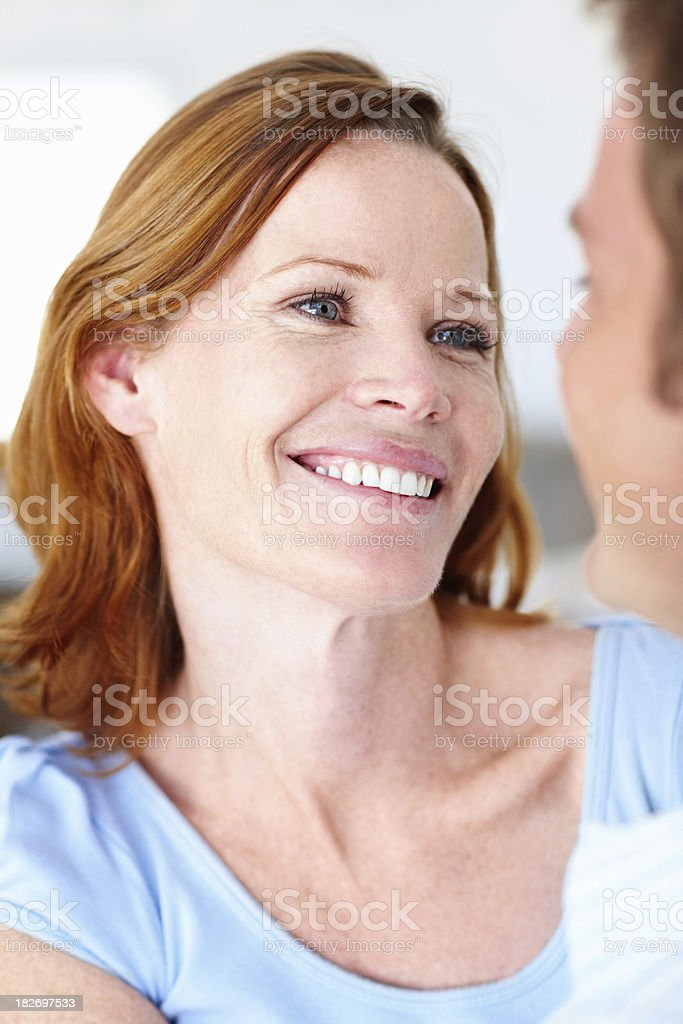 Closeup of a happy mid adult couple stock photo