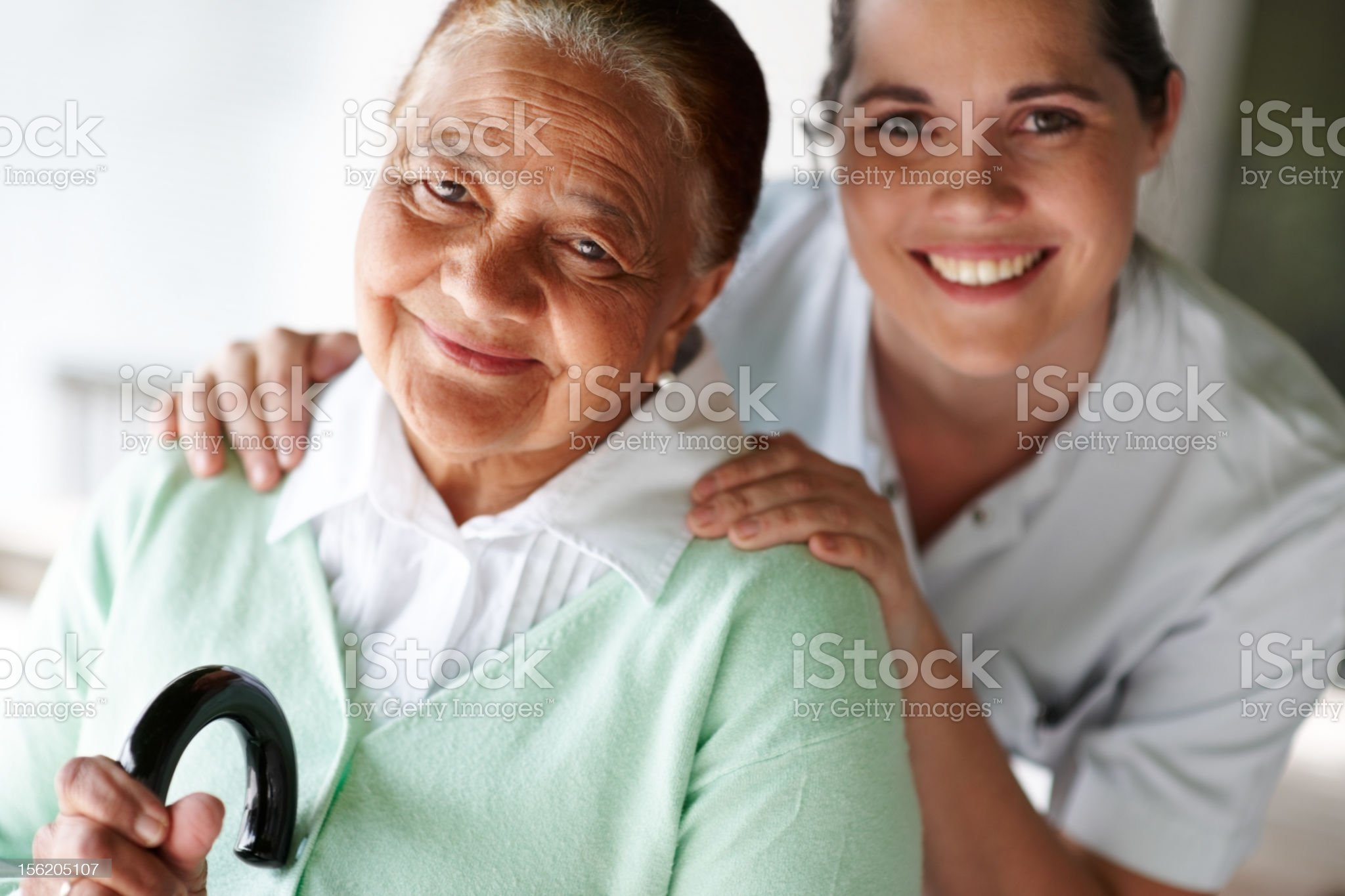 Close-up of a happy nurse and patient royalty-free stock photo