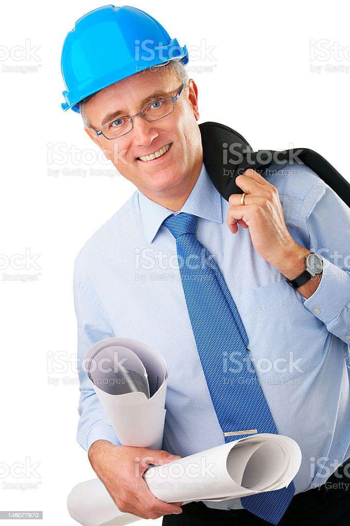 Close-up of a happy senior architect holding documents royalty-free stock photo