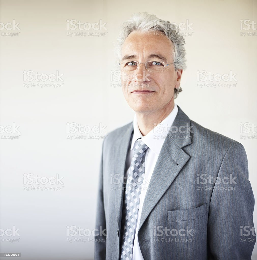 Close-up of a happy senior businessman stock photo