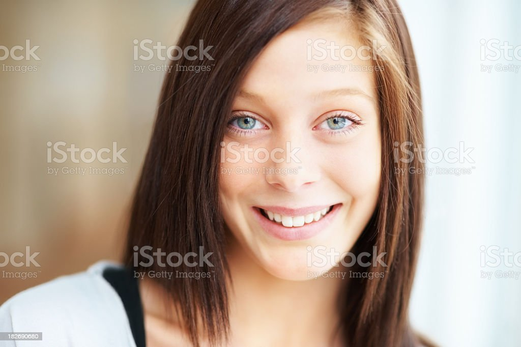 Closeup of a happy teenage female royalty-free stock photo