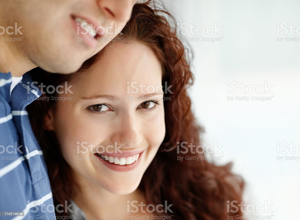 Closeup of a happy young female being with a guy stock photo