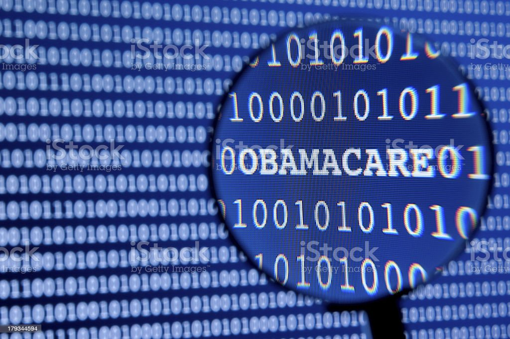 Close-up of a health care screen saying Obama care royalty-free stock photo