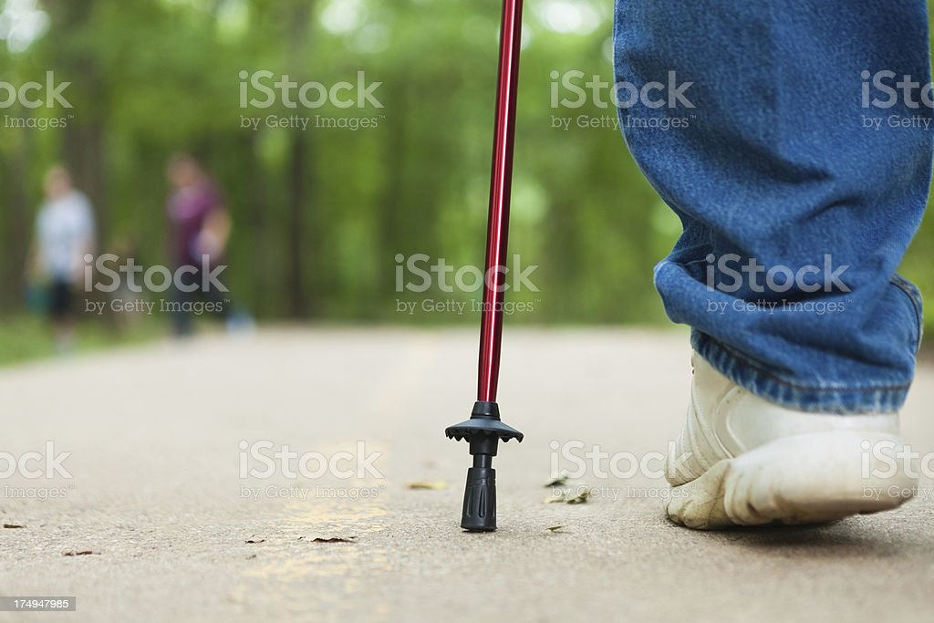 Closeup of a hiking stick being used on trail royalty-free stock photo