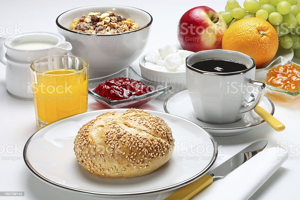 Close-up of a hotel's continental breakfast stock photo