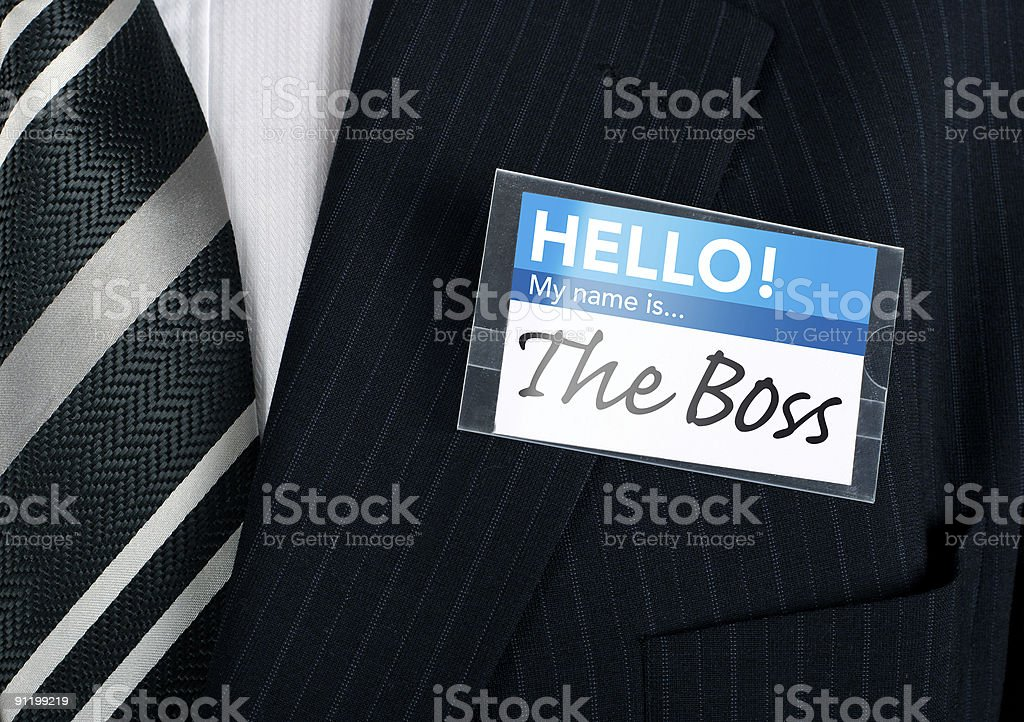 Close-up of a humorous nametag stock photo