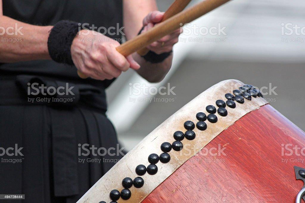 Closeup of a Japanese Taiko Drummer stock photo