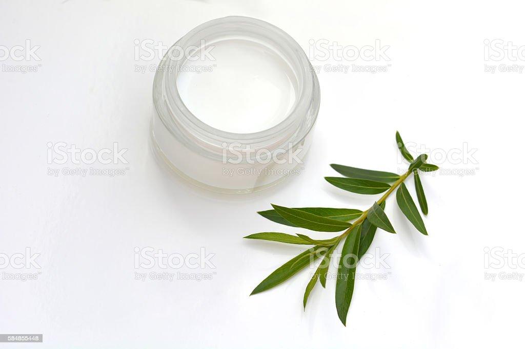 Closeup of a jar of moisturizing face cream. stock photo